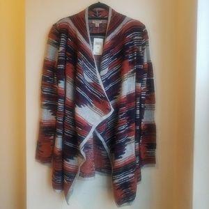 Lucky Brand Aztec Drape Front Sweater
